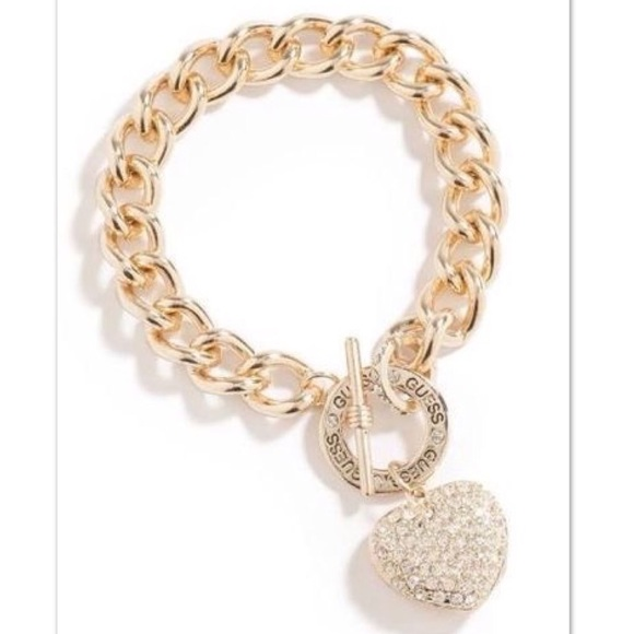 GUESS ?? Jeans Rhinestones  Bangle  Bracelet  Gold Tone Charms  Woven  NWT